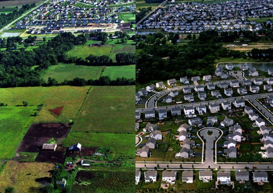 Before and After: the same land as a farm and a suburban subdivision. Image 2014 © Scott Strazzante, from Common Ground, PSG Books