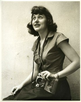 Ruth with camera, 1947, courtesy of the Ruth Orkin Photo Archive