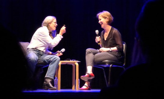 Sally Mann (left) and Ann Patchett share a laugh on stage at Symphony Space
