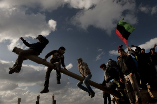 Libyans demonstrate against Colonel Muammar el-Qaddafi in Benghazi, February 26, 2011. Addario was kidnapped shortly after this image was shot. Lynsey Addario/Getty Images Reportage