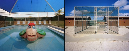 Kiddie Pool (left) and Recreation Pen, Camp Echo (right), from Gitmo at Work, Gitmo at Play. Photo (c) Debi Cornwall