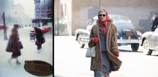 Similar color palette: An image by Saul Leiter (left) and a still from Carol (right)