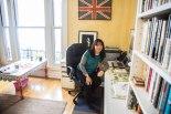 Sarah at her writing desk. Photo (c) Mark Jenkinson, 2015