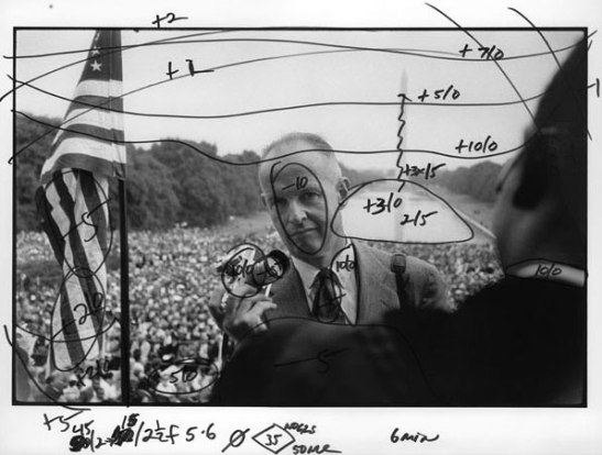 This marked-up shot of Henri Cartier-Bresson photographing Martin Luther King shows the darkroom notations of Magnum printer Pablo Inirio. It was featured in The Literate Lens' most popular post, Magnum and the Dying Art of Darkroom Printing.