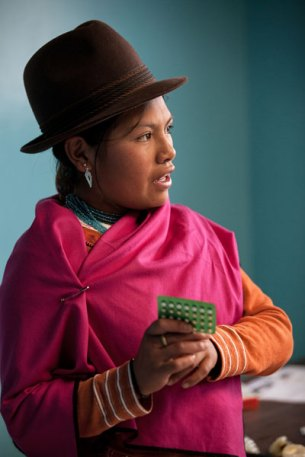 In Ecuador, an indigenous teen tells her peers about birth control pills. Image (c) Mark Tuschman