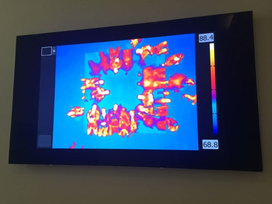 In the final gallery, a screen shows an infrared image of people watching Bed Down Location. Image (c) Sarah Coleman
