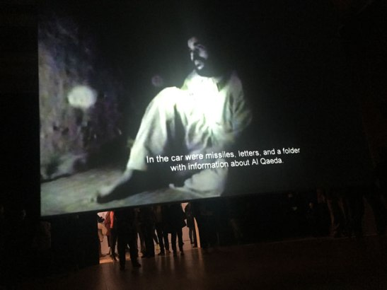 The other side of O'Say Can You See shows footage of two prisoner interrogations in Afghanistan. Image (c) Sarah Coleman