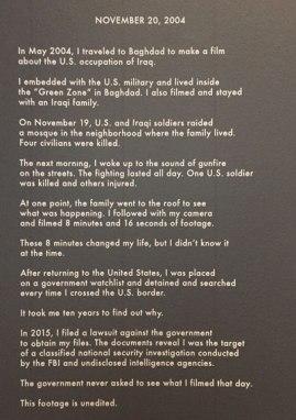 Wall text from November 20, 2004. Image (c) Sarah Coleman