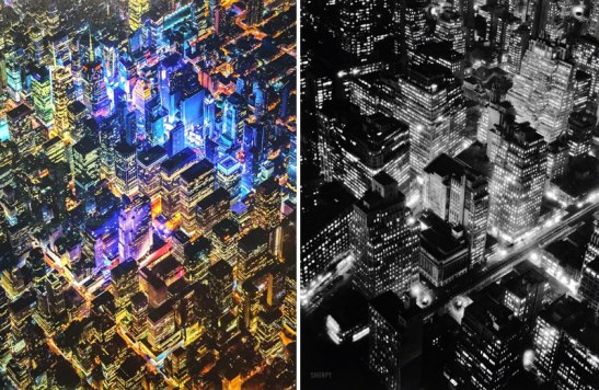 Vincent Laforet's New York 1 (detail, left) clearly owed a debt to Berenice Abbott's iconic Night View (right).