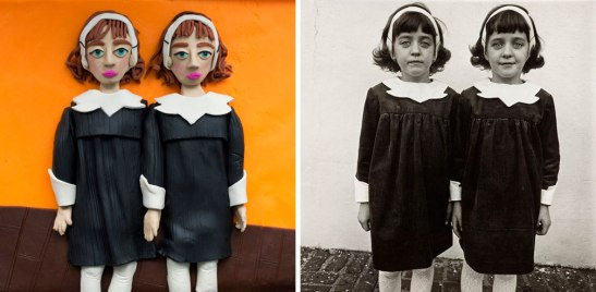 Diane Arbus's iconic image of identical twins in Roselle, New Jersey (right) reinterpreted in Play-Doh by Eleanor Macnair