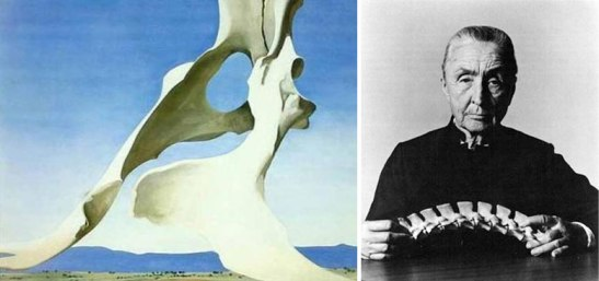 Pelvis with the Distance, 1943, by Georgia O'Keeffe (L); Portrait of Georgia O'Keeffe, photographer and date unknown, R