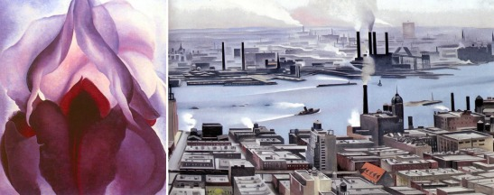 Not just a one-trick pony: Georgia O'Keeffe painted flowers (Flower of Life II, 1925, L) but also city scenes (East River from the 30th Story of the Shelton Hotel, 1928, R)