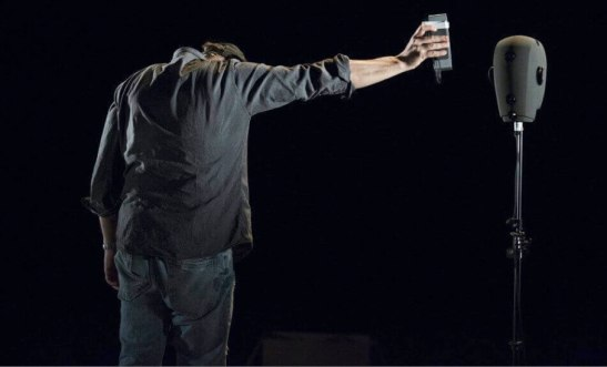 Simon McBurney questions the pervasiveness of technology in The Encounter. Photo (c) Gianmarco Bresadola
