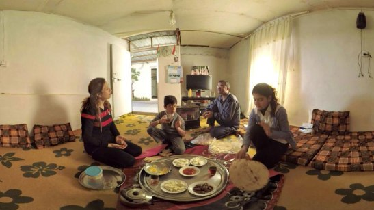 A still from the panoramic VR documentary Forced From Home, featuring Syrian refugees in Iraq.
